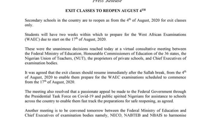 BREAKING- Federal Government Finally Confirms Opening of Schools From 4th August for final year pupils