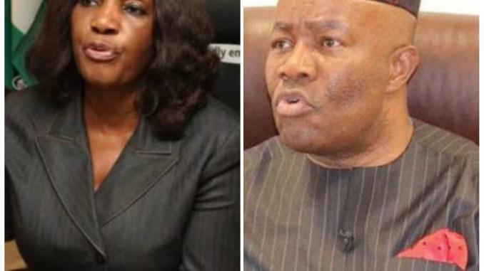 Joy Nunieh and Senator Godswill Akpabio