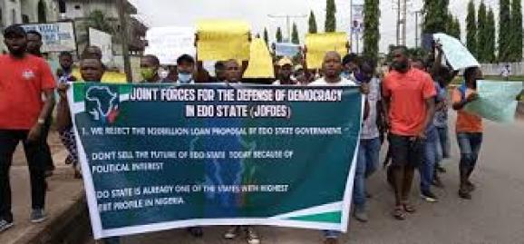 Protest against Obaseki's proposed N20billion loan