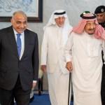 Iraqi PM Adel Abdul Mahdi walks with Saudi Arabia's King Salman bin Abdulaziz during meeting in Jeddah