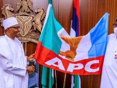 APC EDO STATE GOVERNORSHIP CANDIDATE IZE IYAMU WITH PRESIDENT BUHARI