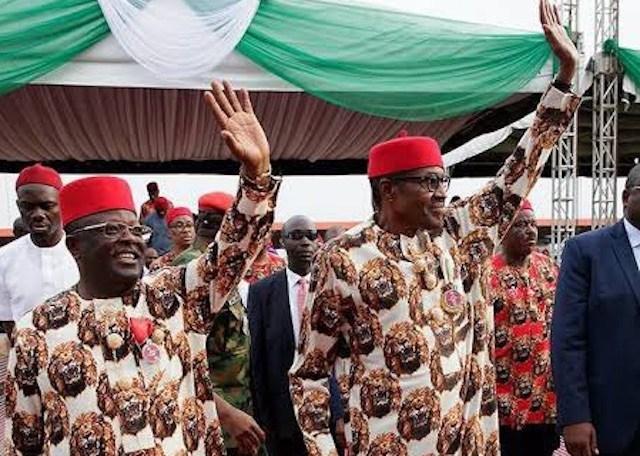 Ebonyi state governor, Dave Umahi and President Muhammadu Buhari-