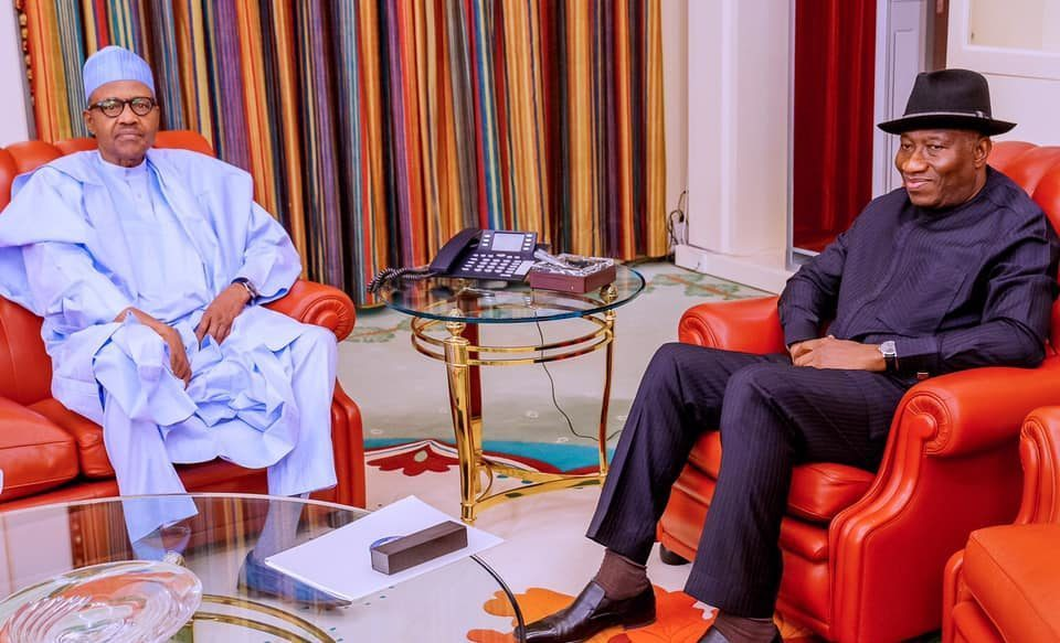 Former president Goodluck Jonathan in meeting with President Buhari