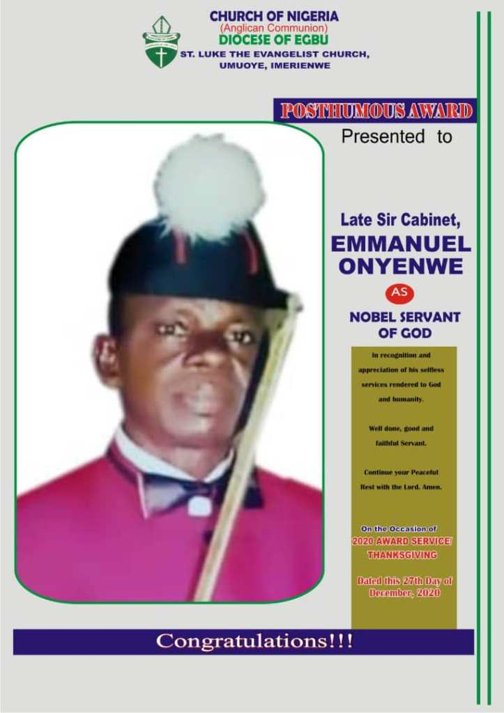 Late Sir Emmanuel Obinnaya Onyenwe, Father of 9News Nigeria Correspondent, Receives Posthumus Award In Imo State