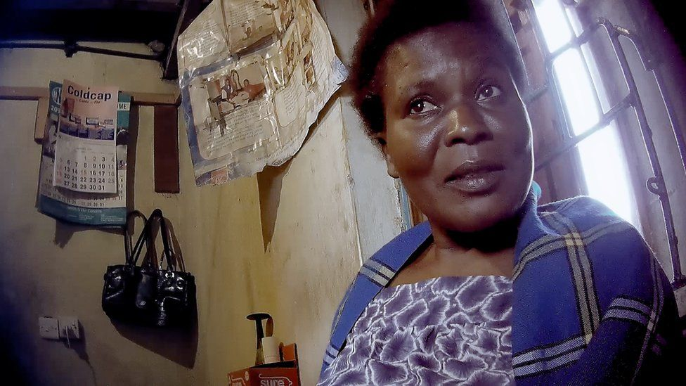 Mary Auma in her street clinic in Kayole, where she buys and sells babies for a profit