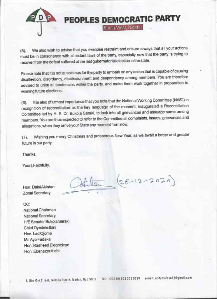 S:West Caretaker Committee Nullifies Suspension of Five Ondo PDP Chieftains, Sues For Peace - Letter page 1