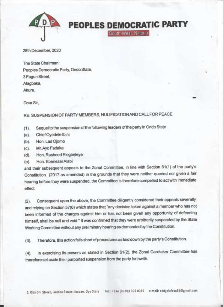 S:West Caretaker Committee Nullifies Suspension of Five Ondo PDP Chieftains, Sues For Peace - Letter page 2
