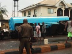 Tanker loaded with fuel fall
