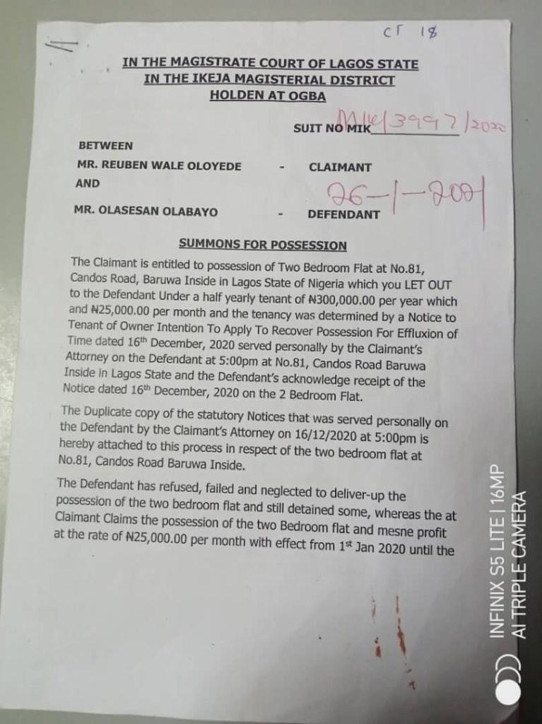 Save Lagos Group warns Lagos judiciary over 'kangaroo' tenant eviction orders - document 1