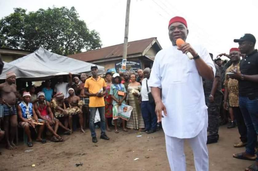 Senator Orji Uzor Kalu campaigning for his youngest brother, Mascot Uzor Kalu in Abia state