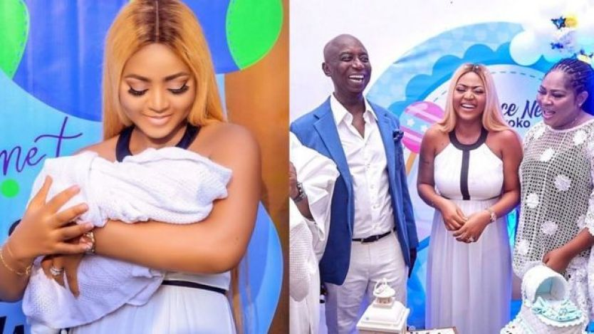Regina Daniels and new baby, her mom and hubby, Ned Nwoko