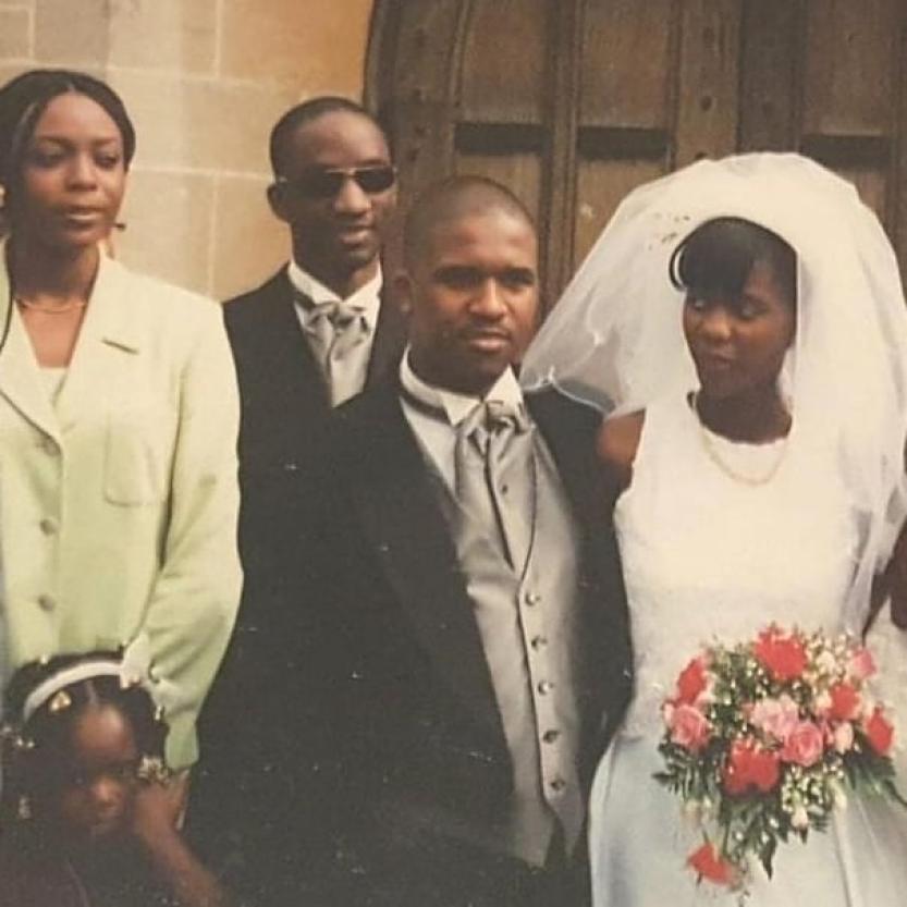 Babasola Kuti Jr and Fafowora first wedding picture April 8, 1996