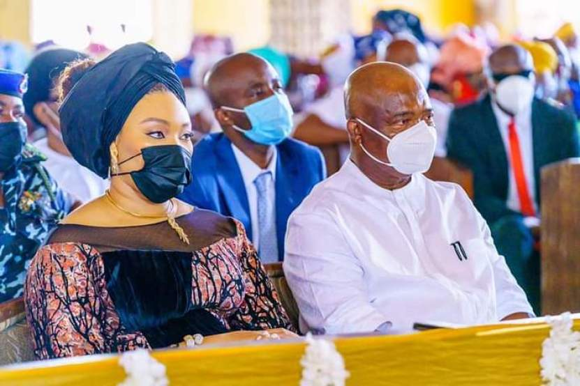 Governor Uzodinma and Imo State First Lady in church during Easter Mass