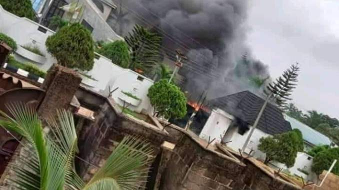 HAPPENING NOW- Hoodlums Set Governor Hope Uzodinma's house on fire