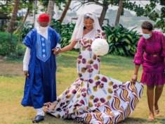 Nigerian fashion designer satisfies her desire, wears an Ankara gown on her wedding day - 9News Nigeria