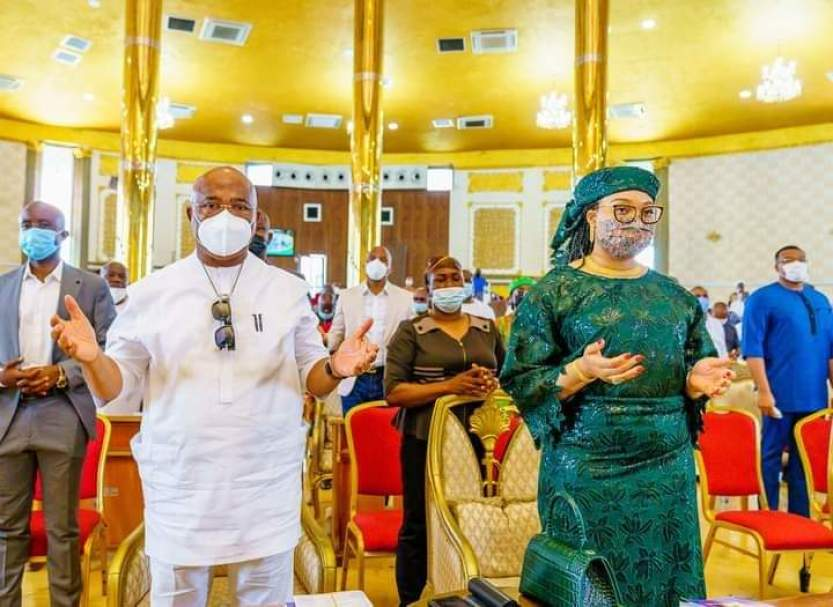 Governor Hope Uzodinma and Wife in a church service held at the Victory Chapel, bank road, Imo State Government House, Owerr
