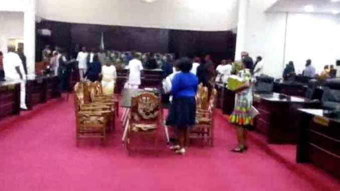 BREAKING: Gunshots Among Imo State House Members Over Removal of House Members (Video)