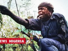 A young Biafran soldier ordering attack during the Biafra and Nigerian civil war in 1969