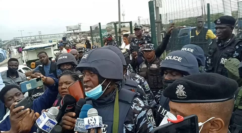 Security operatives at the Yoruba Nation protest venue