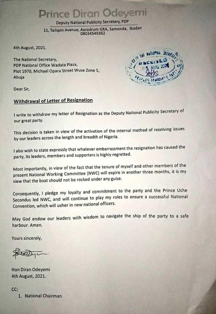 PDP Dep. National Publicity Secretary, Diran Odeyemi Withdraws Resignation