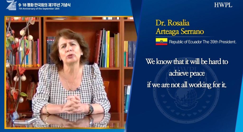 Congratulatory Message from Former President of Republic of Ecuador, Rosalia Arteaga Serrano