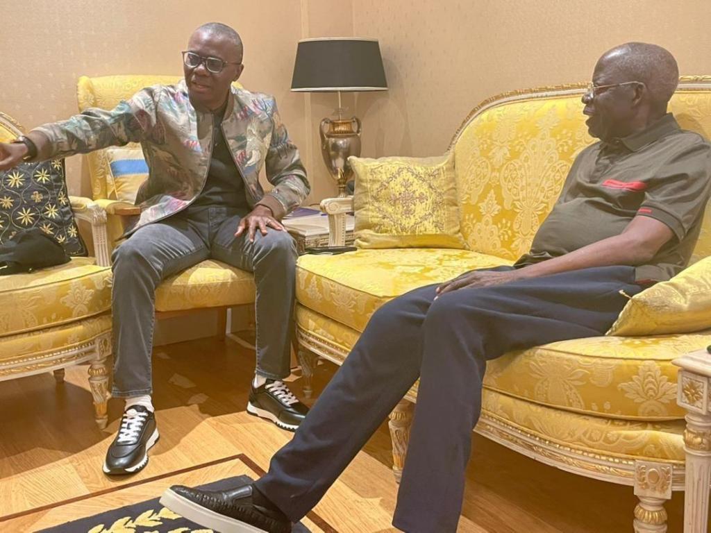 Lagos State Governor, Sanwo Olu visits Bola Tinubu in London