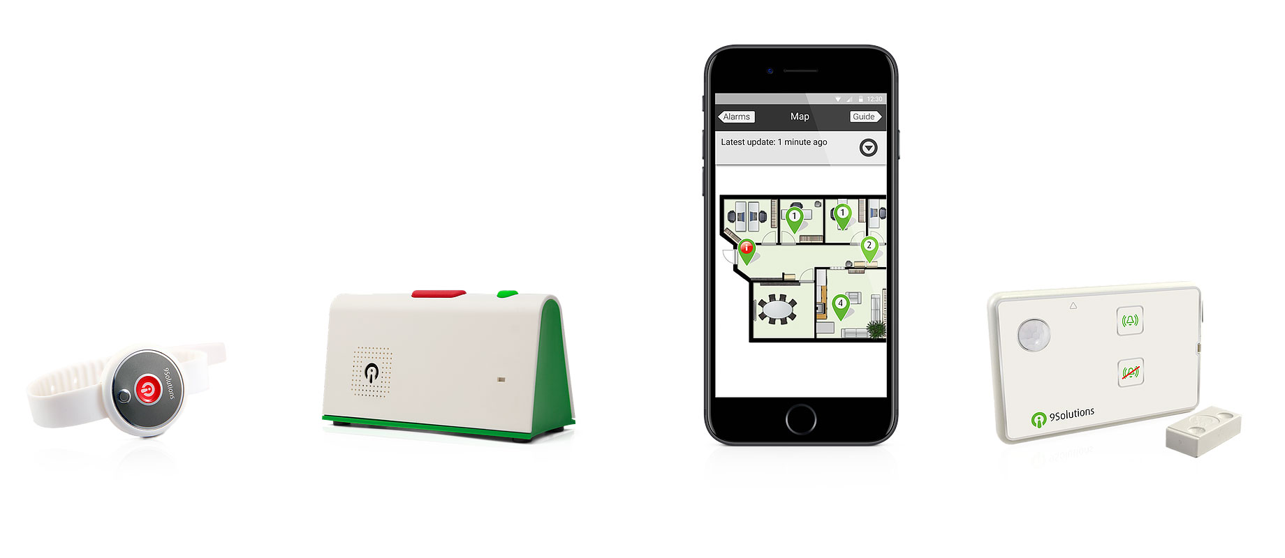 Lösningen för Kuopio hemvård innehåller en säkerhetsarmband, en trygghetstelefon, en Smooth Lite mobilapplikation och intelligent dörrsensor.