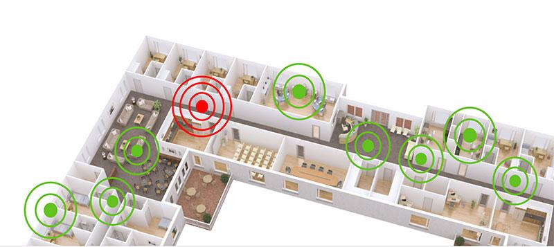 Langaton Bluetooth-verkko syntyy langattomien tukiasemien eli nodejen avulla. Näitä tukiasemia ketjuttamalla saadaan syntymään verkko, jonka kautta hoitajakutsu- ja paikannusjärjestelmän viestintä ja huonetason paikannus tapahtuu koko sairaalan alueella.