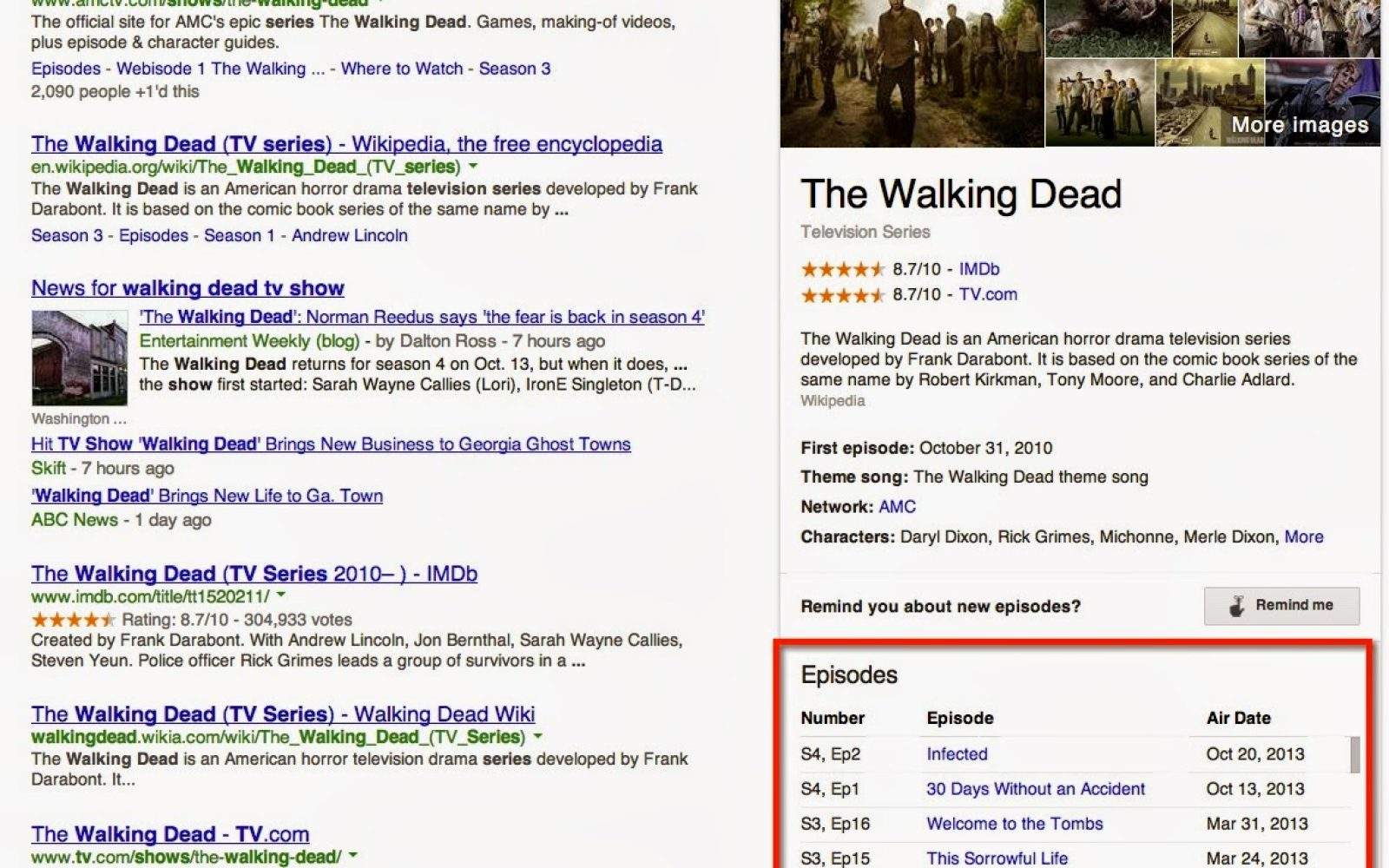 Google adds TV Show episode listings to search results