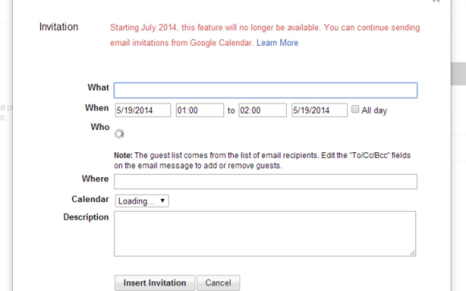 Google retiring Gmail Calendar invitation feature in July