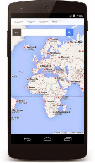 Google Flight Search Switzerland 1