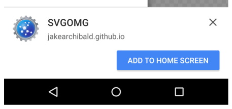 Chrome 42 Beta add to home screen banner