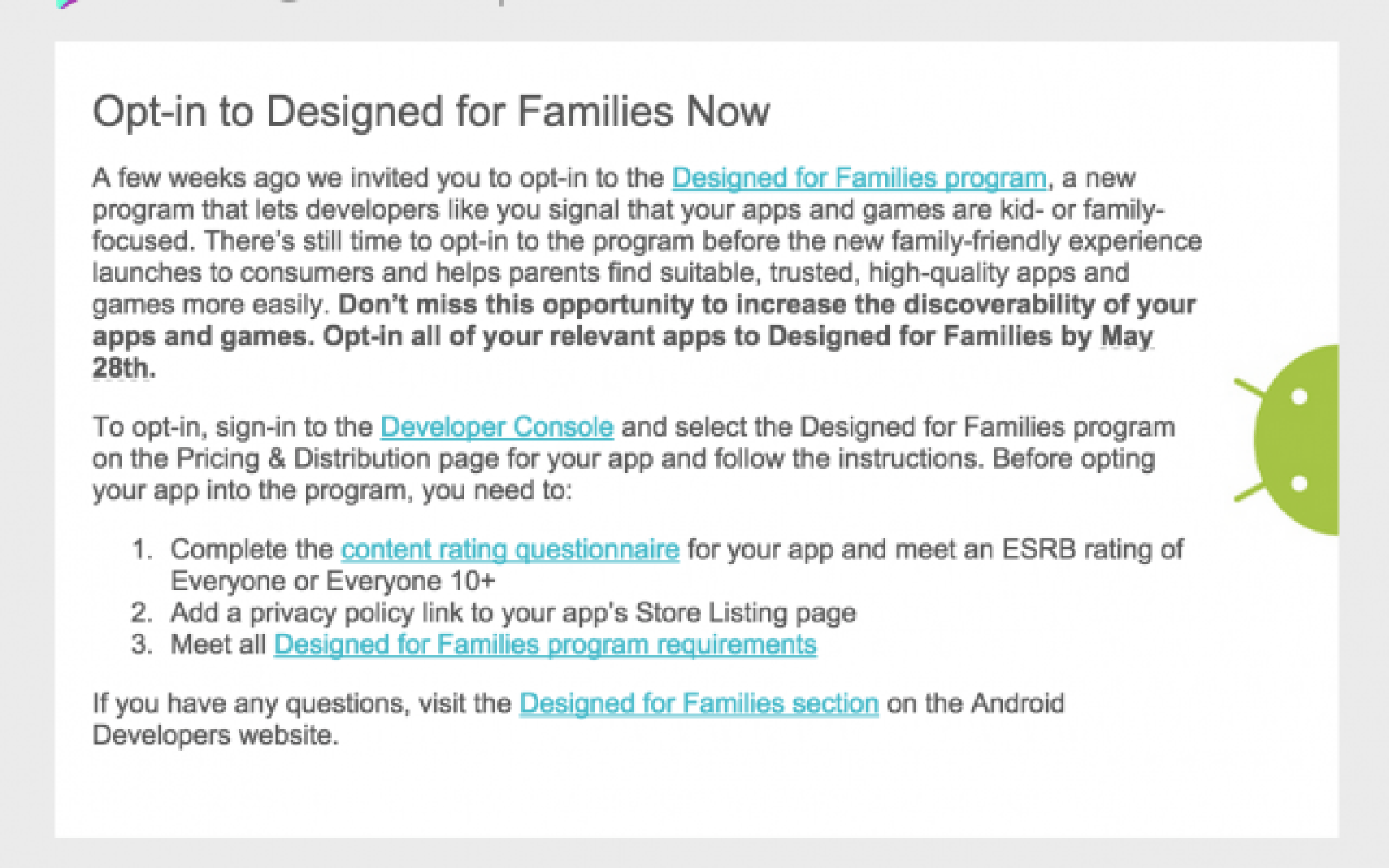 Google's 'Designed for Families' Play Store program likely