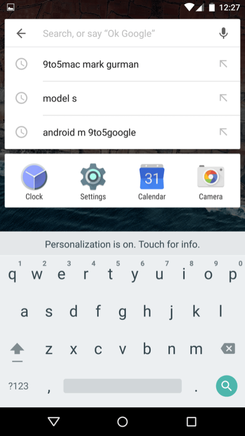 Quick access to apps in the Google Search bar