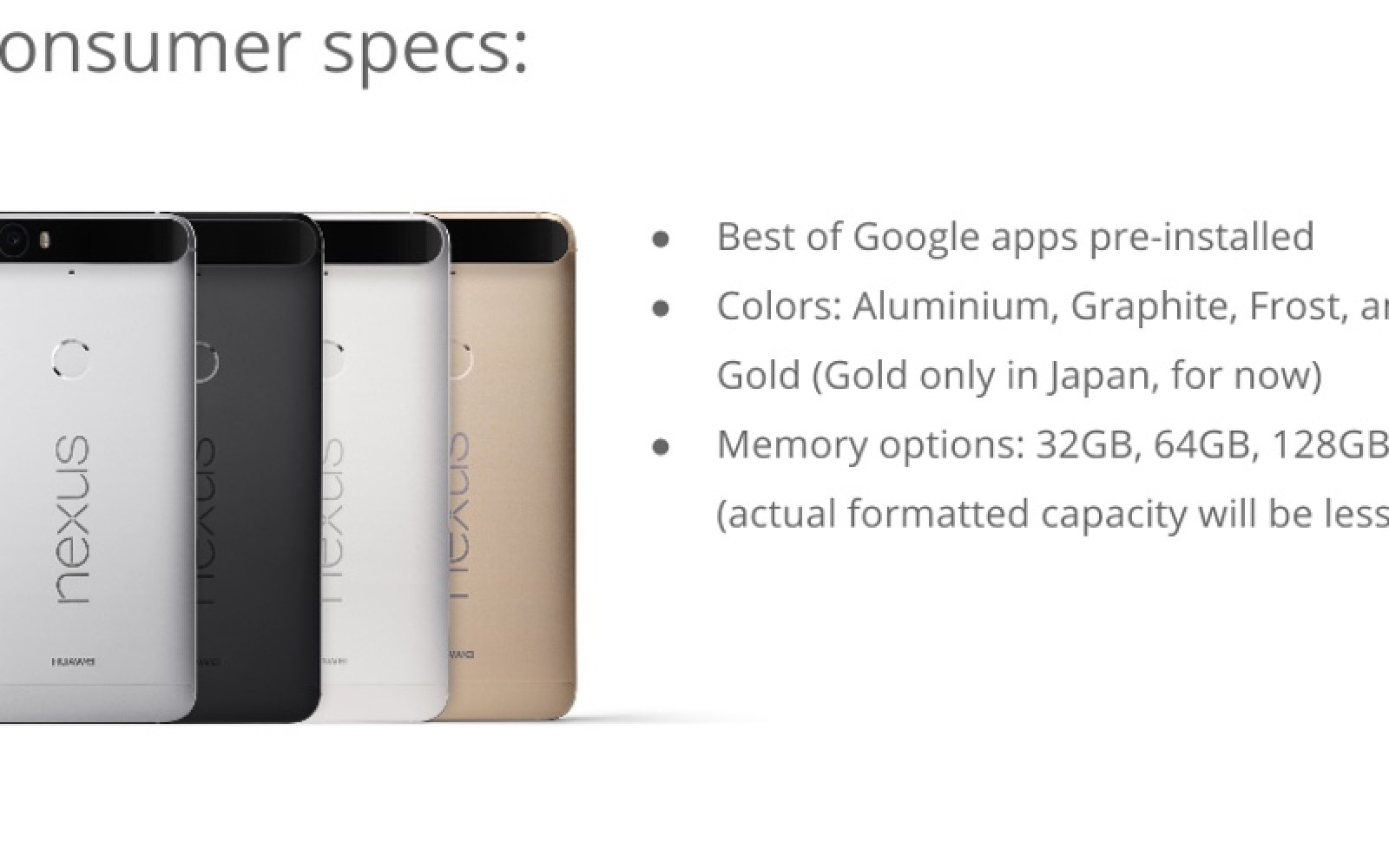 Leaked Huawei Nexus 6P reveals 4 color choices, 3450mAh battery, storage options, more