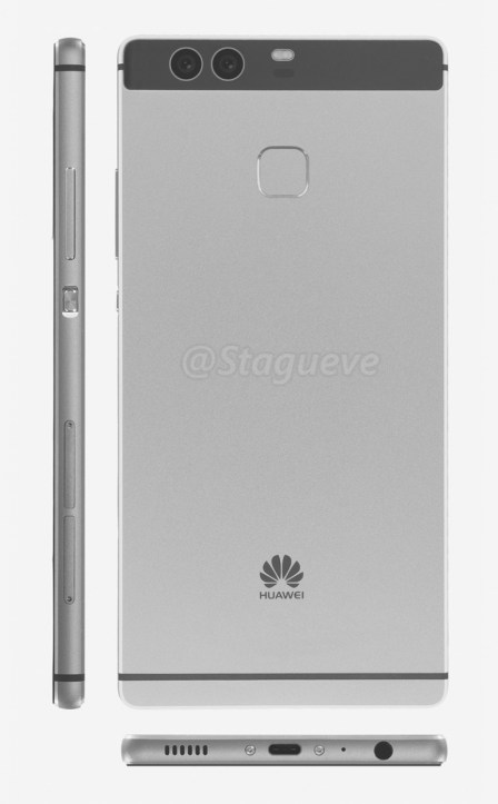 Huawei P9 render based on schematics