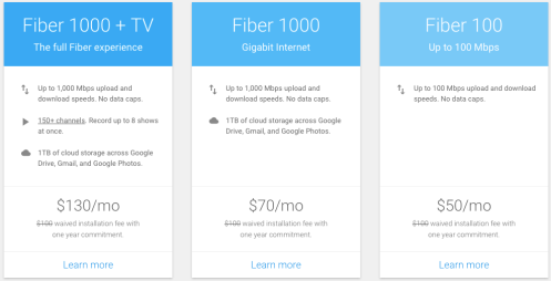 New Fiber 100 and rebranded Fiber 1000 (&TV) plans