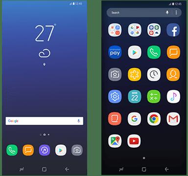 Samsung Galaxy S8 Home Screens