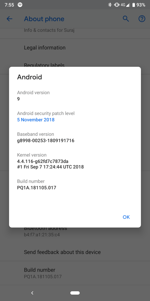 Android 9 Pie dogfood security patch