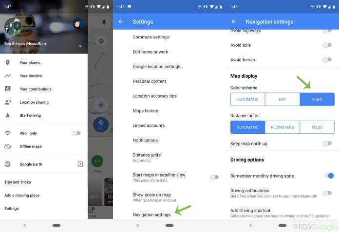 Cara memaksa mode gelap di navigasi Google Maps untuk Android