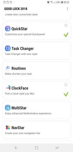Good Lock 2018 main menu