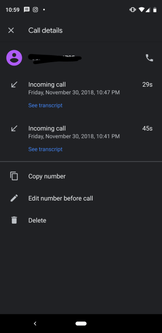 Google Call Screen transcripts