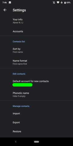 Google Contacts dark theme