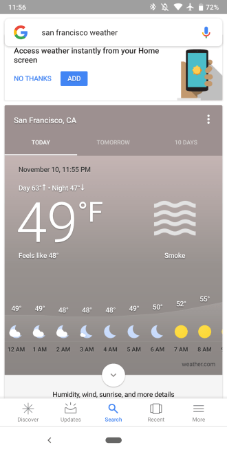 Google Weather missing air quality