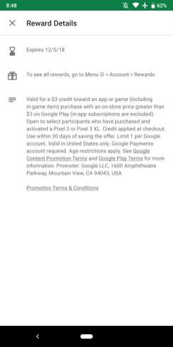 Pixel 3 Play Store credit
