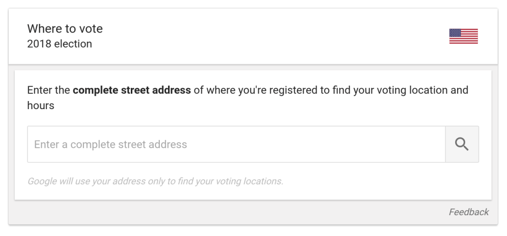 Google Search voting location