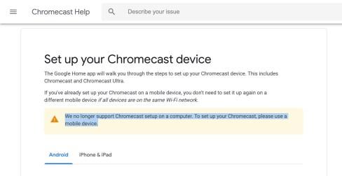 Chrome 72 killing Chromecast setup