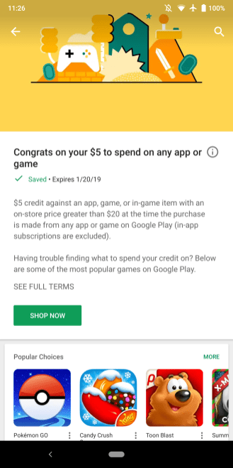 Google Play Store personalized app discount