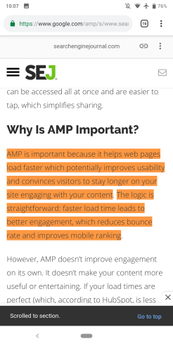Google Search Featured Snippets AMP highlight
