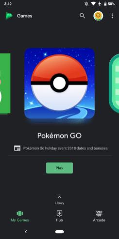 Google Play Games dark theme